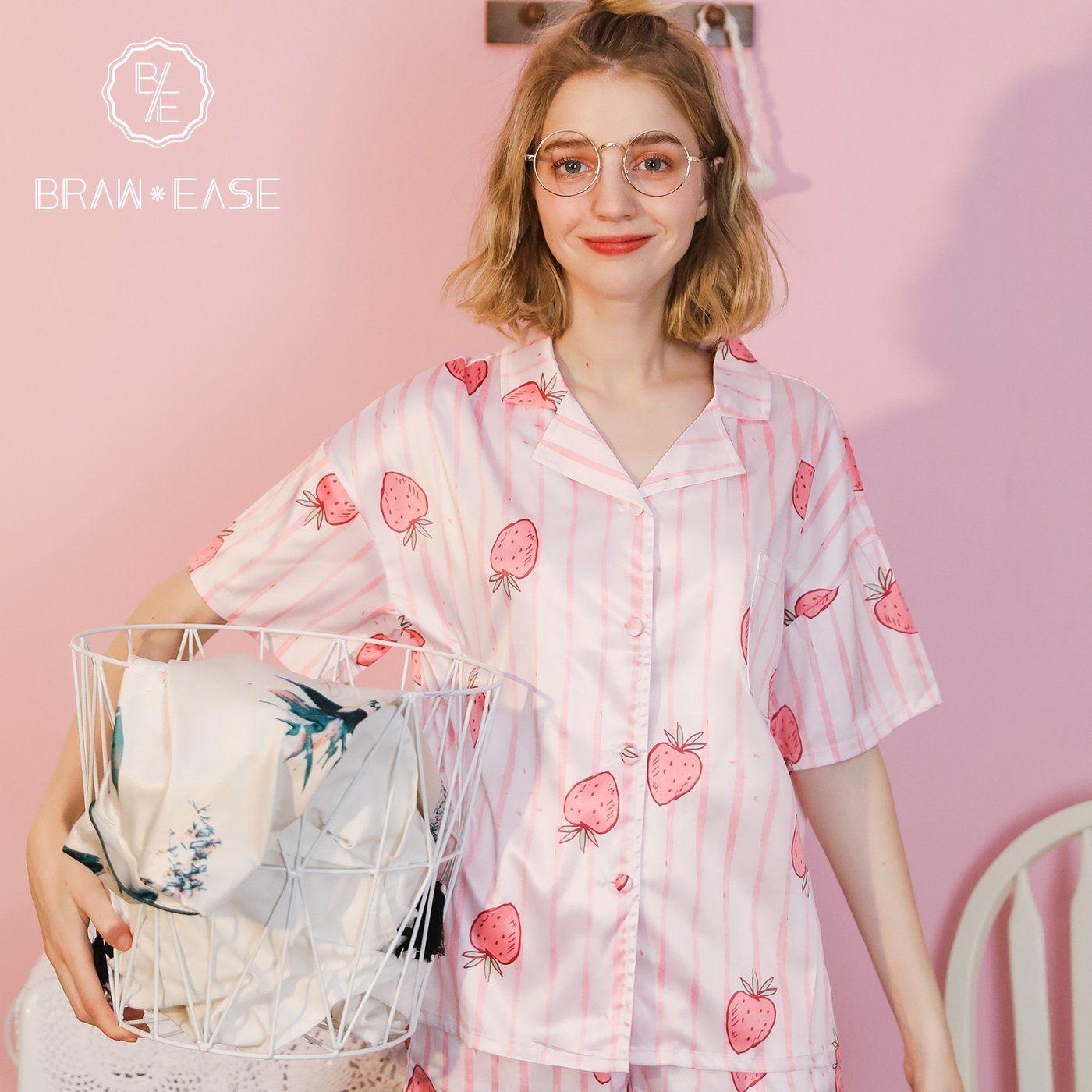 9d95ab5cb37 Womens Stripe Strawberry Satin Button Up Short Sleeve Pajama Set ...