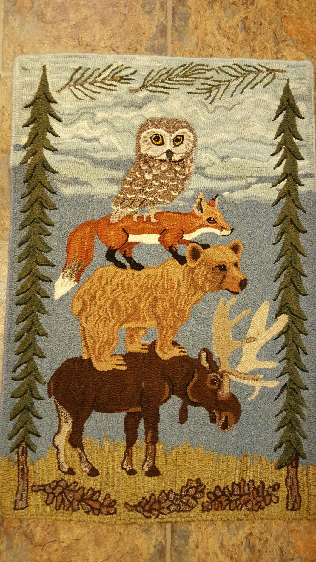 Into The Woods Designed By Bev Conway Hooked By Liz Gilbert Fox Hooked Rugs Primitive Rug Hooking Patterns Rug Hooking Designs