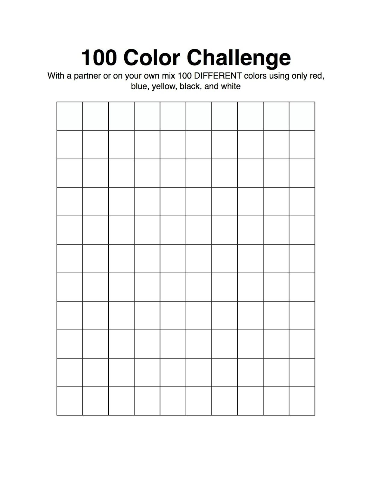 Color theory worksheet for kids - The Awakened Artist A Choice Based Art Classroom 100 Color Challenge