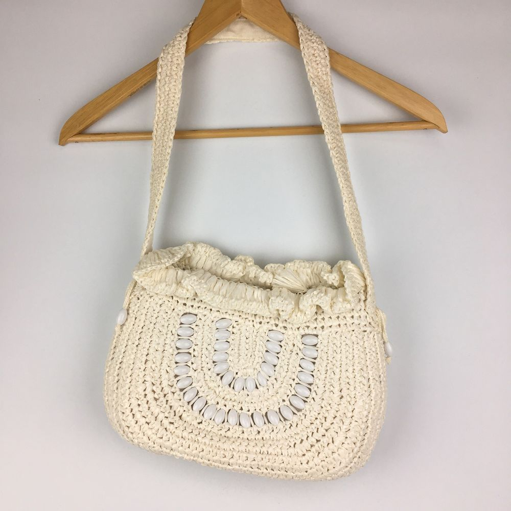 vtg 60s white raffia seashell purse hand bag hippie gypsy boho hobo lined japan unbranded purse everyday [ 1000 x 1000 Pixel ]