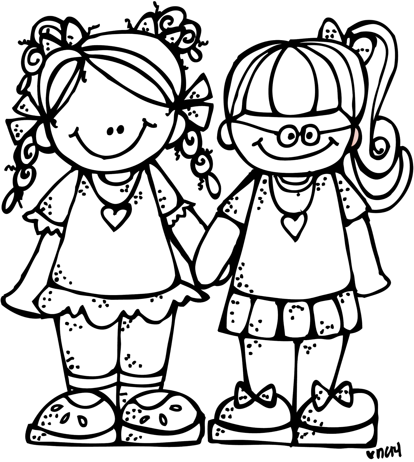 Melonheadz Freebie Forever Friends Graphic Clip Art Melonheadz Clipart Coloring Pages