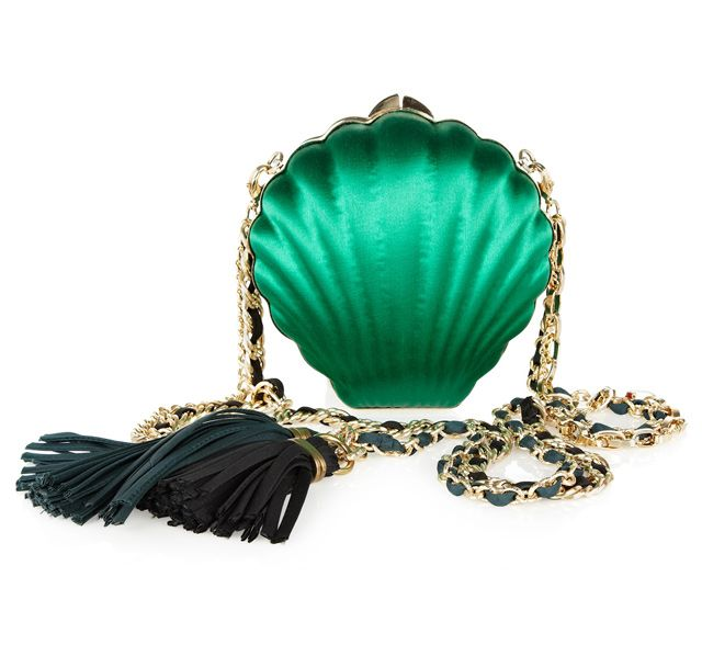 Satin scallop shell clutch by designer Jeanne Lanvin.