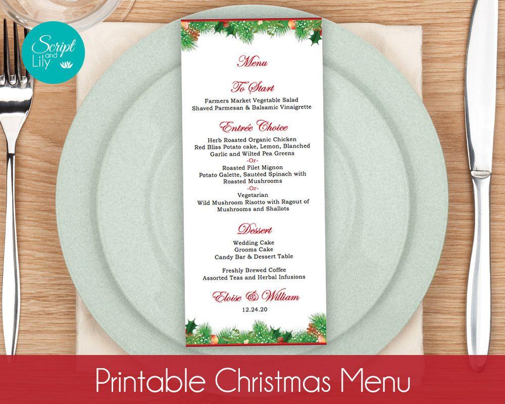 Christmas Menu Card Templates  Winter Wonderland  Wedding