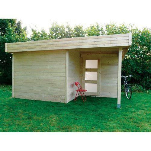 Abri de jardin en bois FSC toit plat 16,43m² - madriers 28mm, Abri - maison bois en kit toit plat