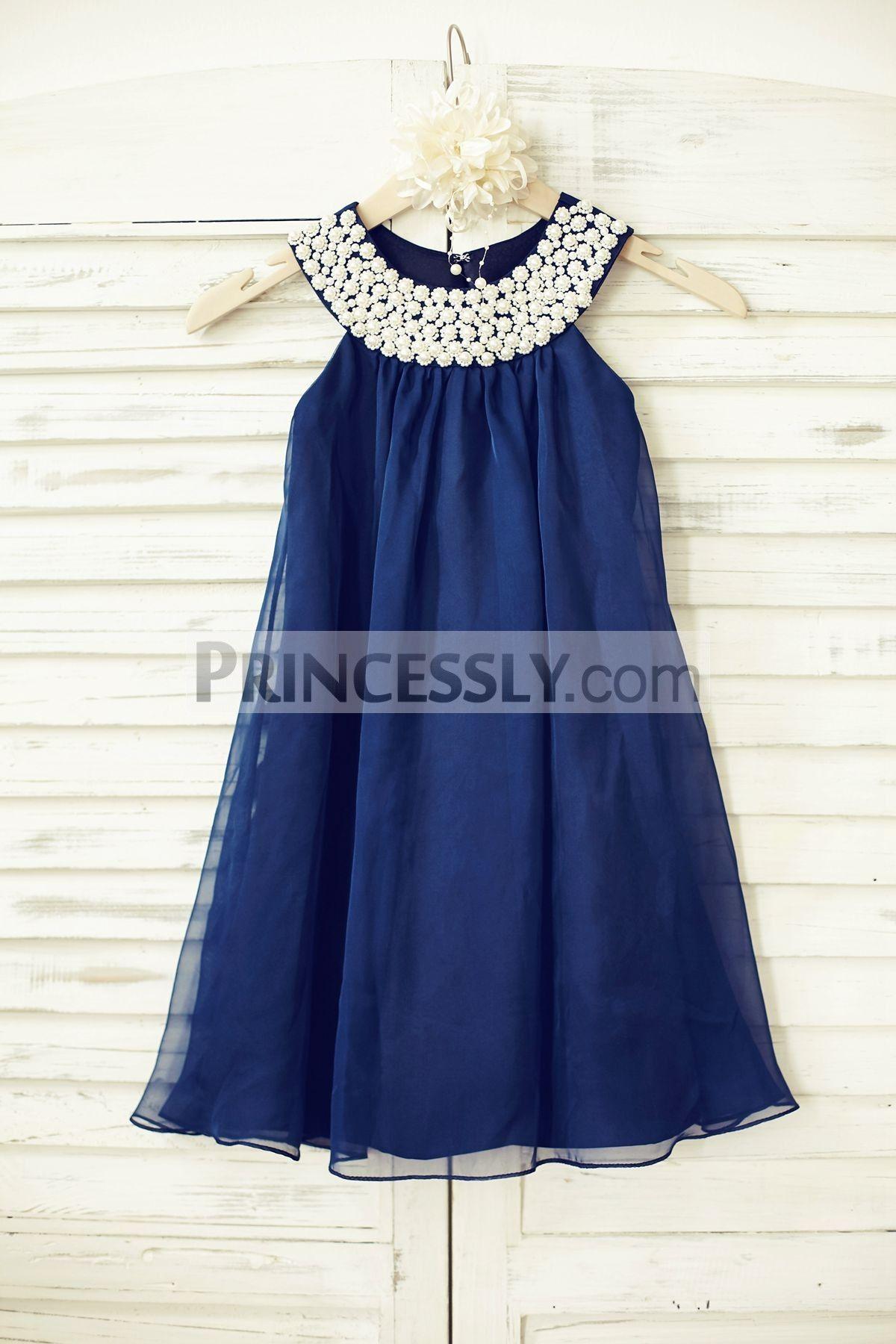 3d4910ae16 Princessly.com-K1000211-Boho Beach Navy Blue Chiffon Flower Girl Dress with  pearl beaded neck-31