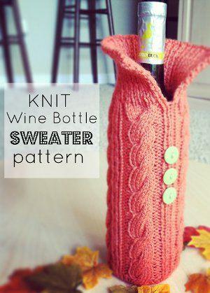 Knit Wine Bottle Sweater Pattern Knitting Pinterest Free