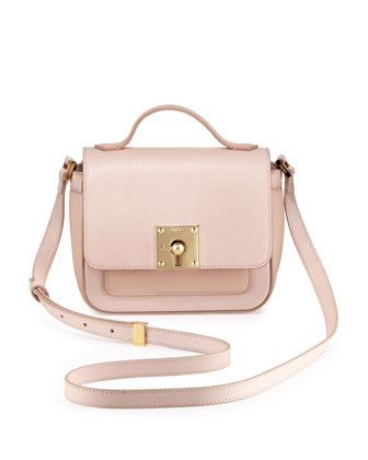 Fendi Mini Borsa Leather Crossbody Bag, Light Pink -