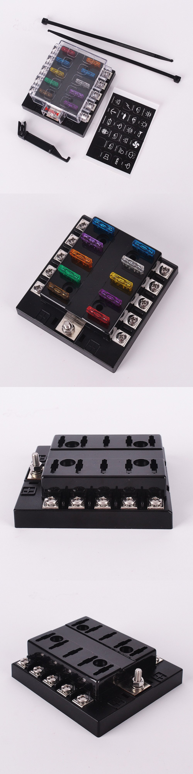 Fuses And Fuse Holders Dc 32v 10 Way Terminals Circuit Car Auto Box Blade