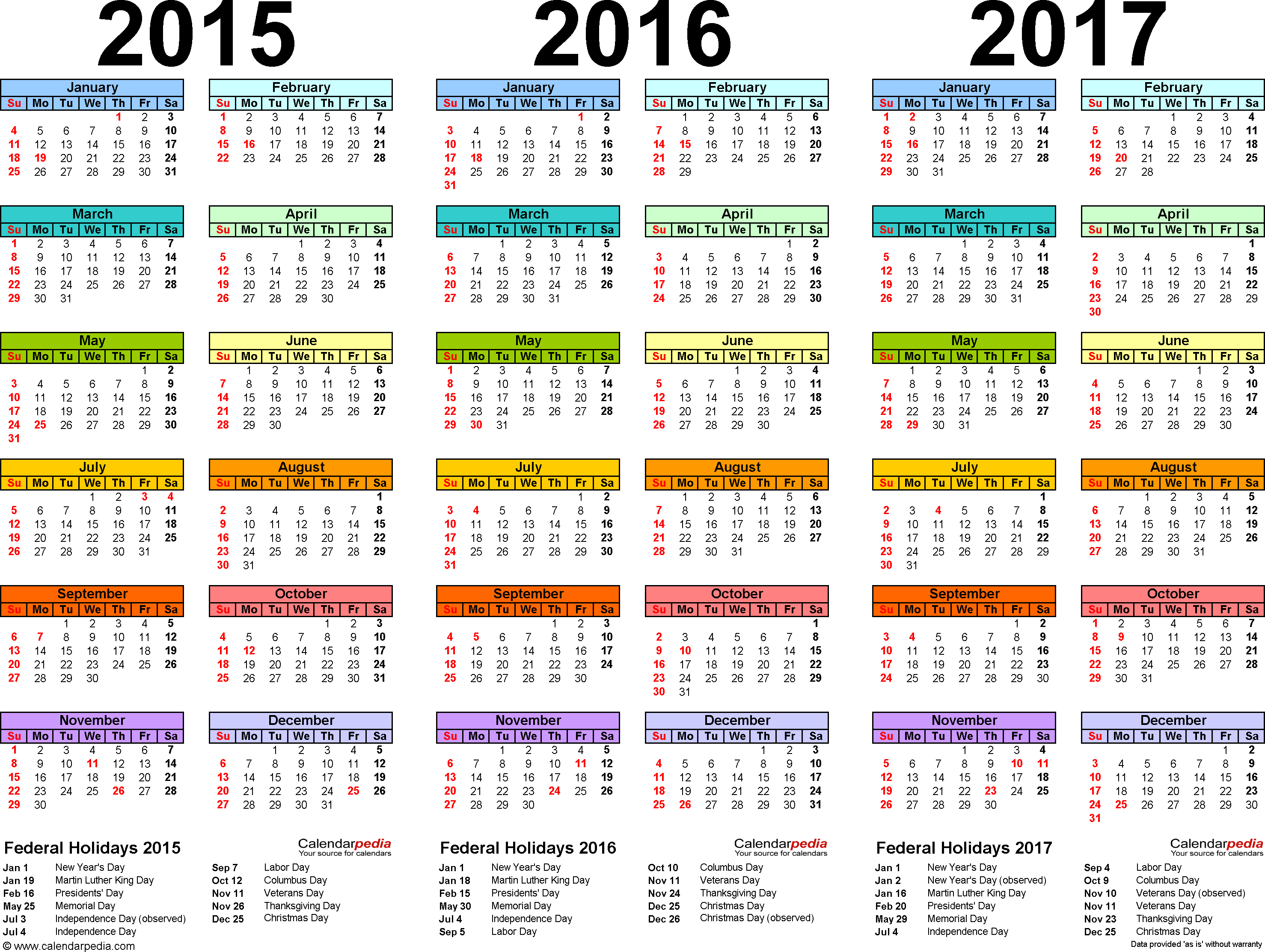 2015 2016 2017 Calendar 4 Three Year Printable Pdf Calendars Calendar Printables Calendar Pdf Calendar Template