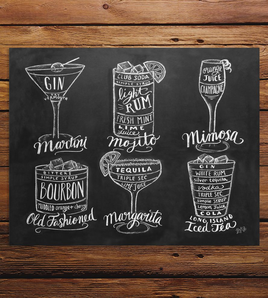 Guide To Cocktails Chalkboard Art Print