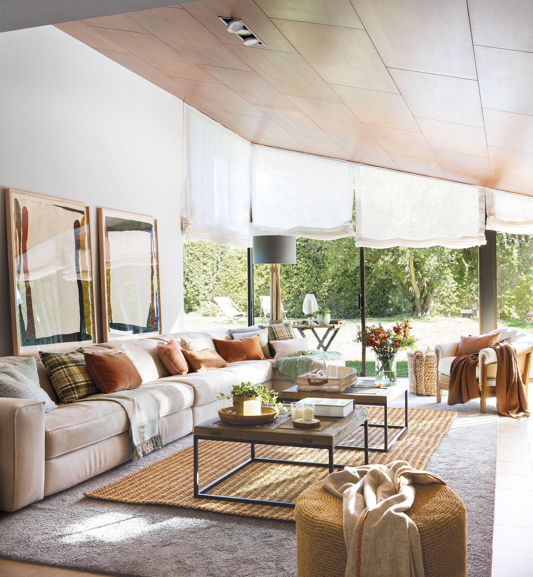 El d o ideal ca das y estores en 2019 salones modernos for Tipos de cortinas para salon