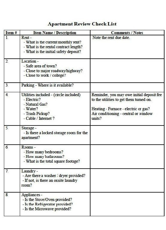 2 Page New Apartment Checkoff List template located at: https ...