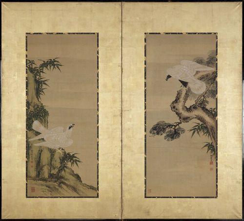 White Falcons (18th century). Ink and colour on paper by   Kumashiro Yuhi (Japanese, 1693–1772), Iwai Koun (Japanese)Image and text courtesy MFA Boston.