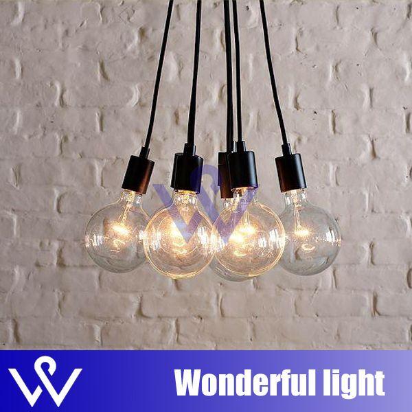 Pas cher créatif 7 lumières ligne ampoules suspendues edison lustre lampe suspension au plafond lumière eclairage