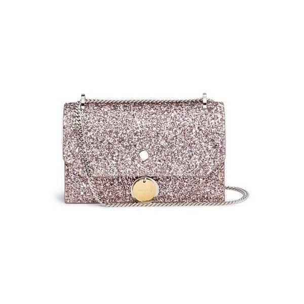 1b8d71a4539 Jimmy Choo Finley' coarse glitter chain crossbody bag ($715) ❤ liked on  Polyvore