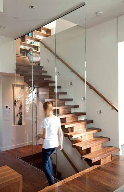 Modern wood stairs glass railing wall puck lights project for Modern wood stairs