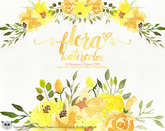 Watercolor flowers yellow. Flora clipart flower floral