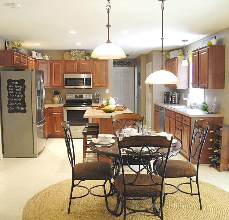 Cherry Cabinets View Into Kitchen Kitchen Kitchen
