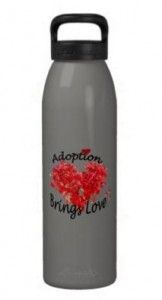 Adoption Themed Water Bottle with Red Heart Designs! - #adoption #adoptiongifts #adoptiontheme