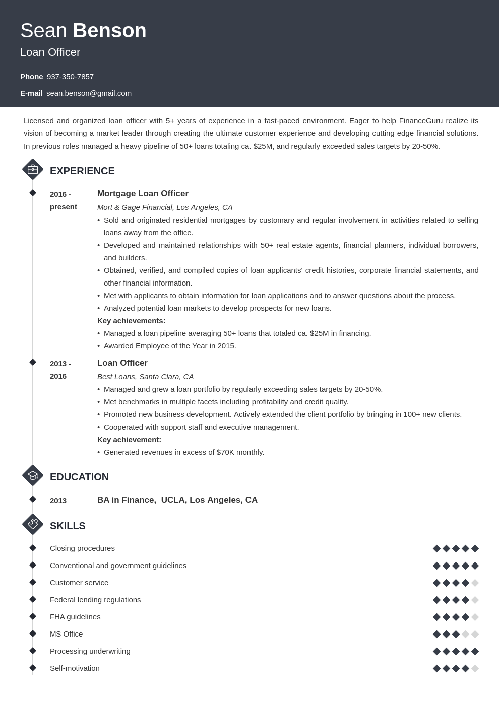loan officer resume example template diamond  medical