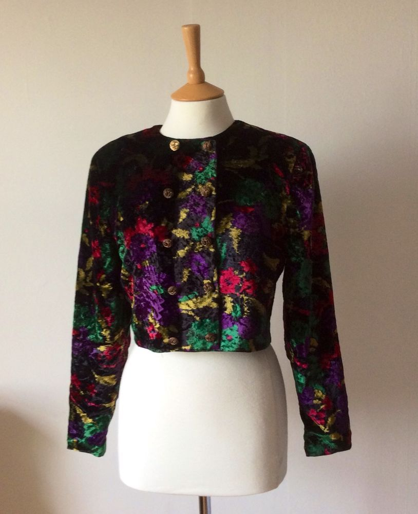 Vintage 80s Gina Bacconi Crushed Velvet Bolero Cropped Jacket Abstract Floral S