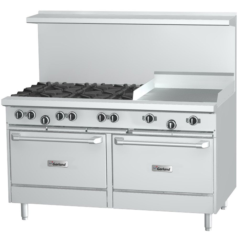 Garland G48 6g12cs Natural Gas 6 Burner 48 Range With 12 Griddle Convection Oven And Storage Base 254 000 Btu Convection Oven Double Oven 48 Range