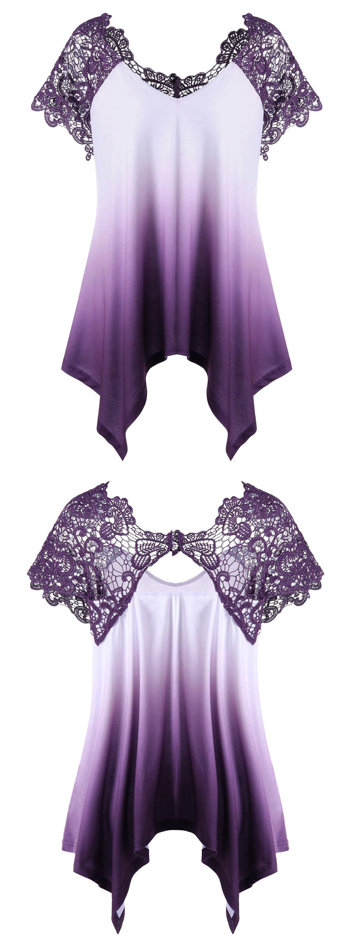Design your own t shirt london ontario -  18 43 Plus Size Lace Trim Ombre Asymmetric T Shirt Purple