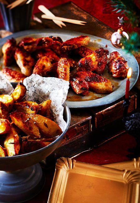 chickenwings mit fritters und zimtiger barbecueso e rezept neue ideen f r weihnachten. Black Bedroom Furniture Sets. Home Design Ideas