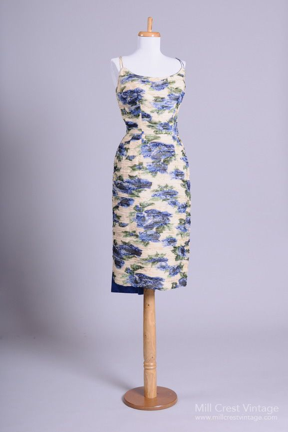1950's Beaded Impressionist Vintage Dress with Origami Train.