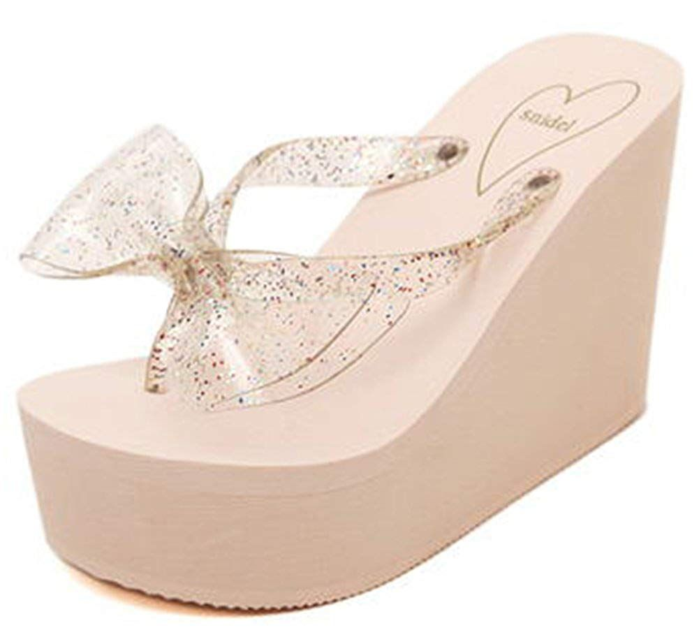 2460b0942 IDIFU Women s Comfy Bows Wedge Platform Thong Sandals High Heels Beach Flip  Flops   Wonderful of you to drop by to see the image.