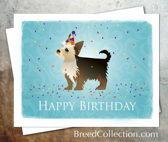 Yorkie Terrier Dog Birthday Card From The Breed Collection Digital