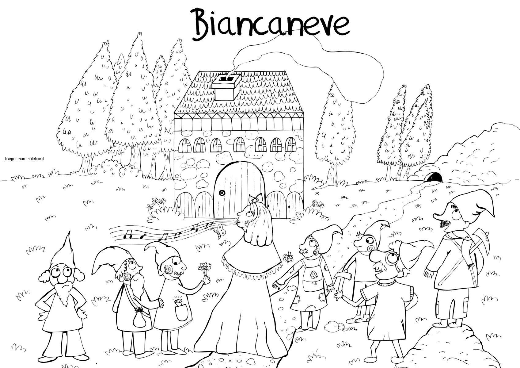 disegni da colorare per bambini di biancaneve e i sette nani
