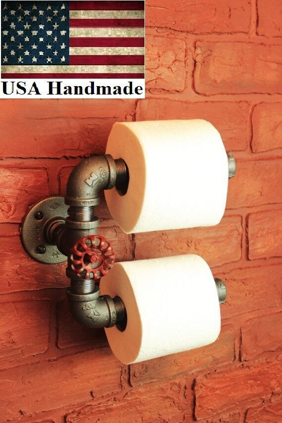 Photo of Industrial Pipe Double Roll Toilet Paper Holder toilet roll, bathroom tp holder    eBay