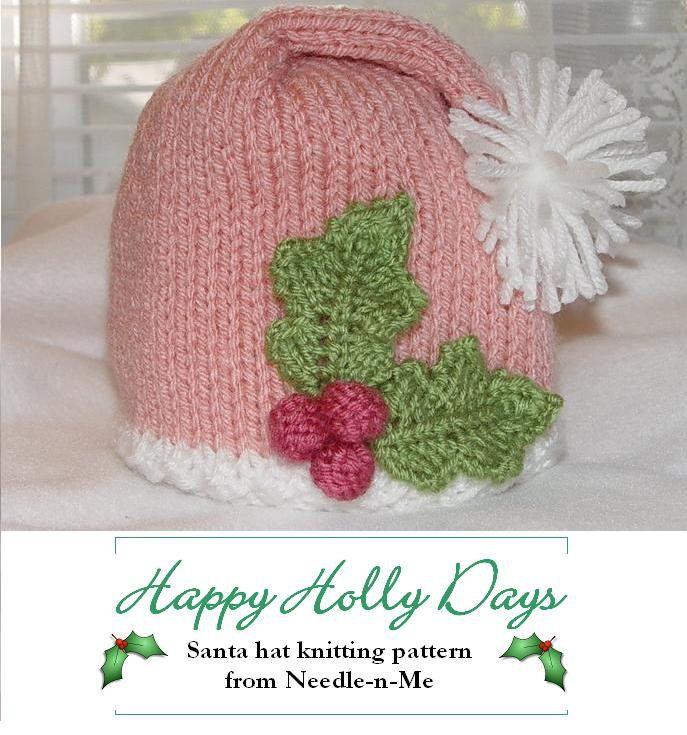 Happy Holly Days - PDF File - Pink Santa Hat Knitting Pattern. $5.00 ...