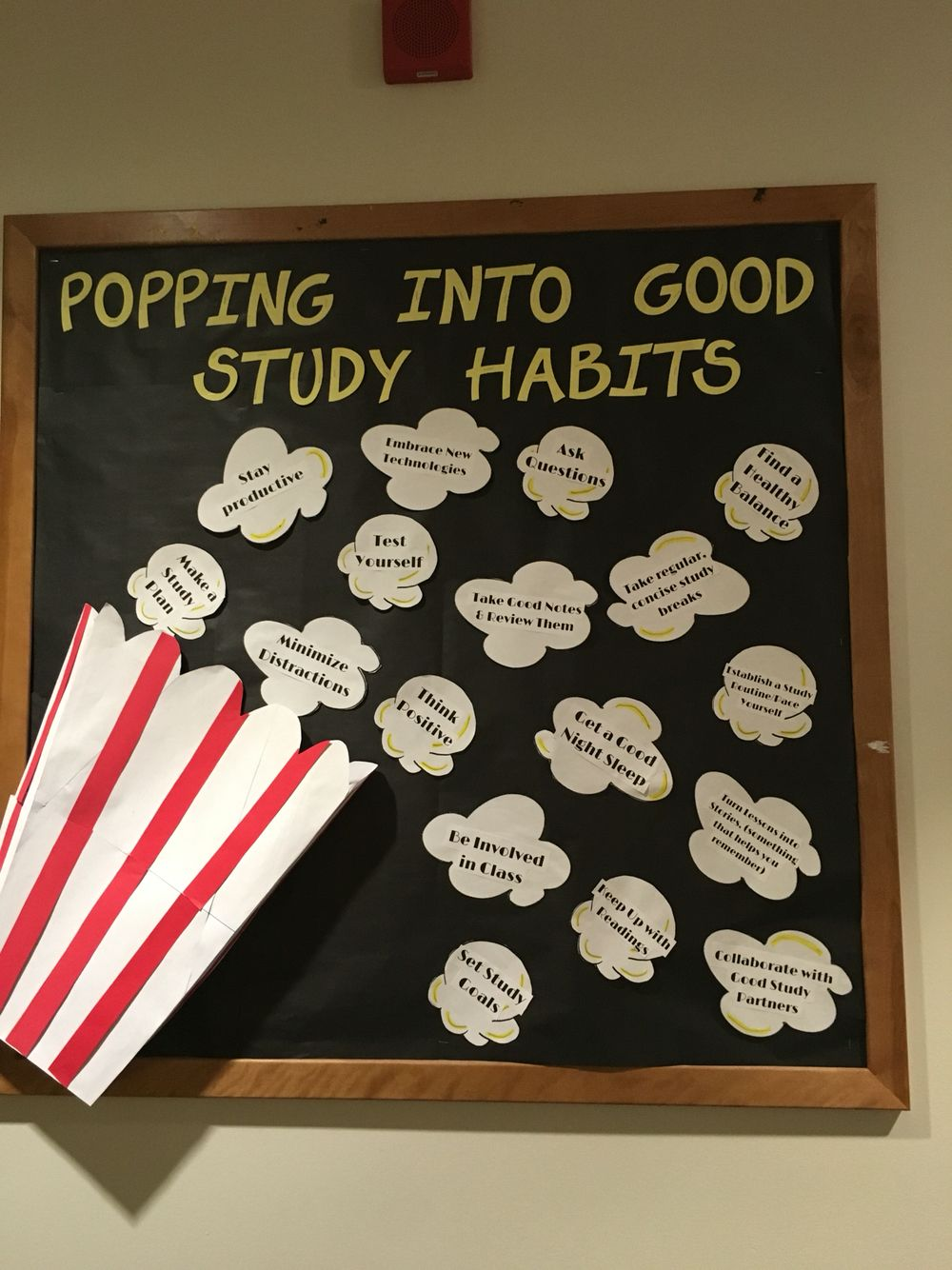 3-D popcorn bulletin board. Bucket pops out. Study tips board. Academic theme. #rabulletinboards
