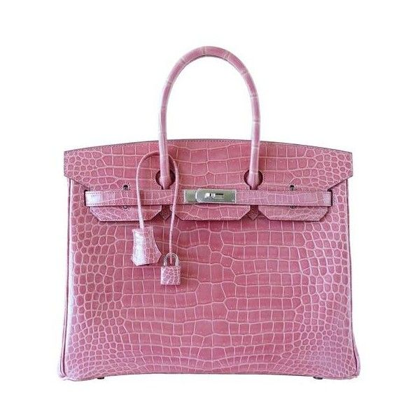 209064e46603 HERMES BIRKIN 35 bag Rose Indienne porosus crocodile palladium VERY... ❤  liked on Polyvore featuring bags
