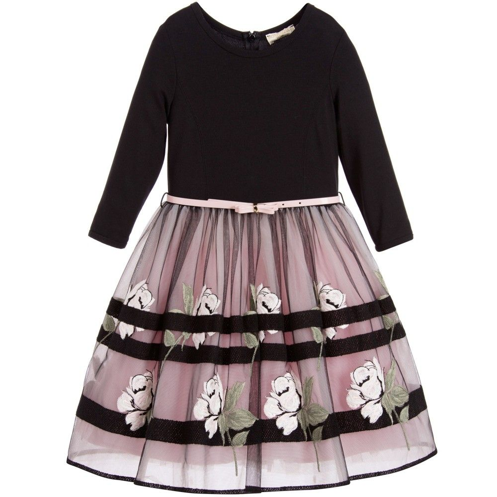 ab33ce589e0d Black   Pink Roses Tulle Dress