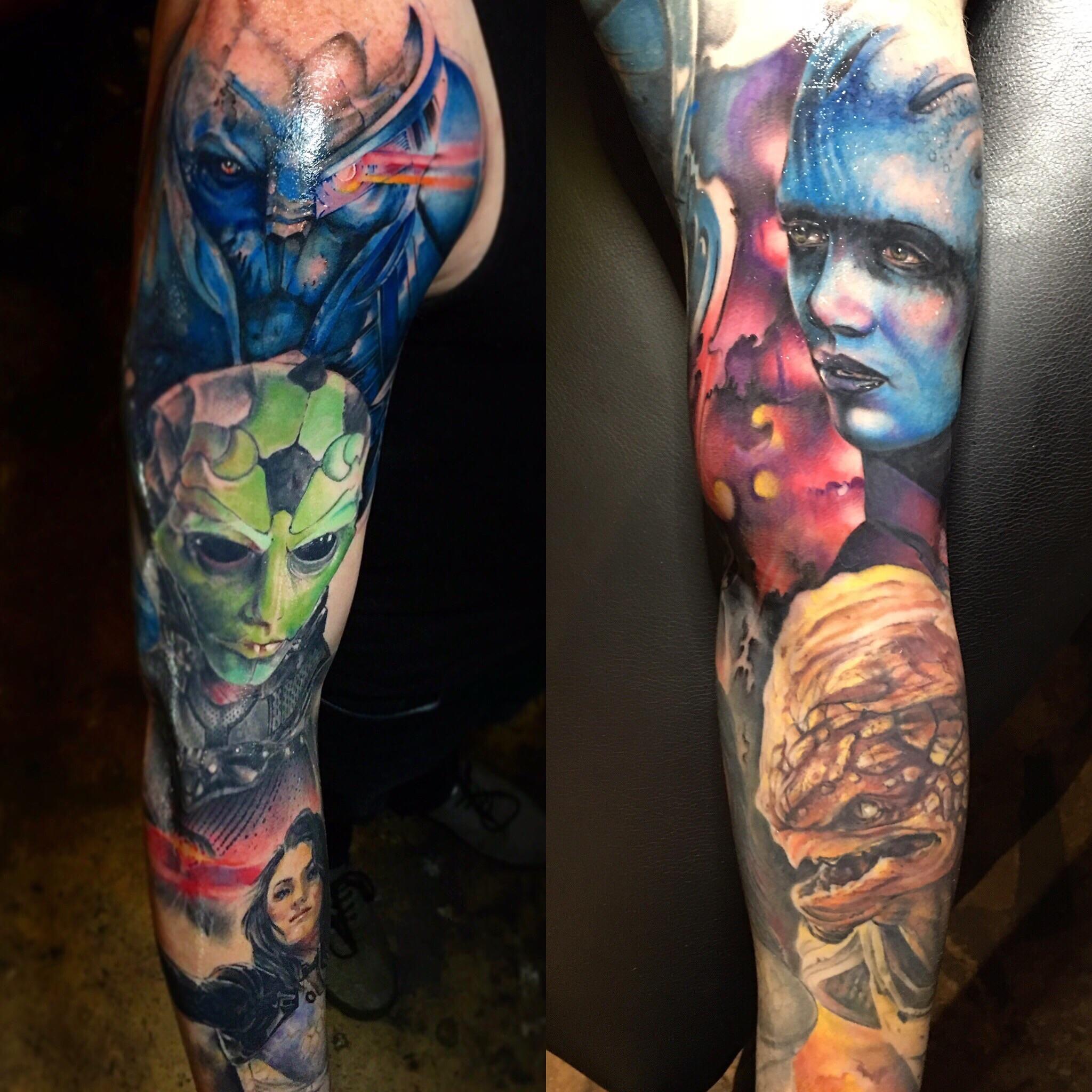 Mass Effect Sleeve By Jeff Hubbard At Revolution Ink In Pelham Alabama Mass Effect Tattoo Japanese Tattoo Japanese Tattoos For Men