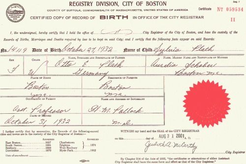 Sylvia Plath\'s birth certificate 27 October 1932 – February 11, 1963 ...