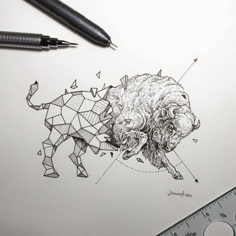 lovely half geometrical drawings of wild animals fubiz media illustration idea. Black Bedroom Furniture Sets. Home Design Ideas