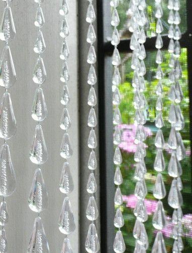 Clear Raindrop Beaded Curtain 8 Feet Long Beaded Curtains