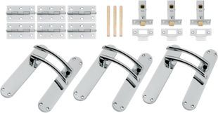 39747f6a40d5 Wickes Dante Latch Door Handle Set - Polished Chrome 3 Pairs | Wickes.co.