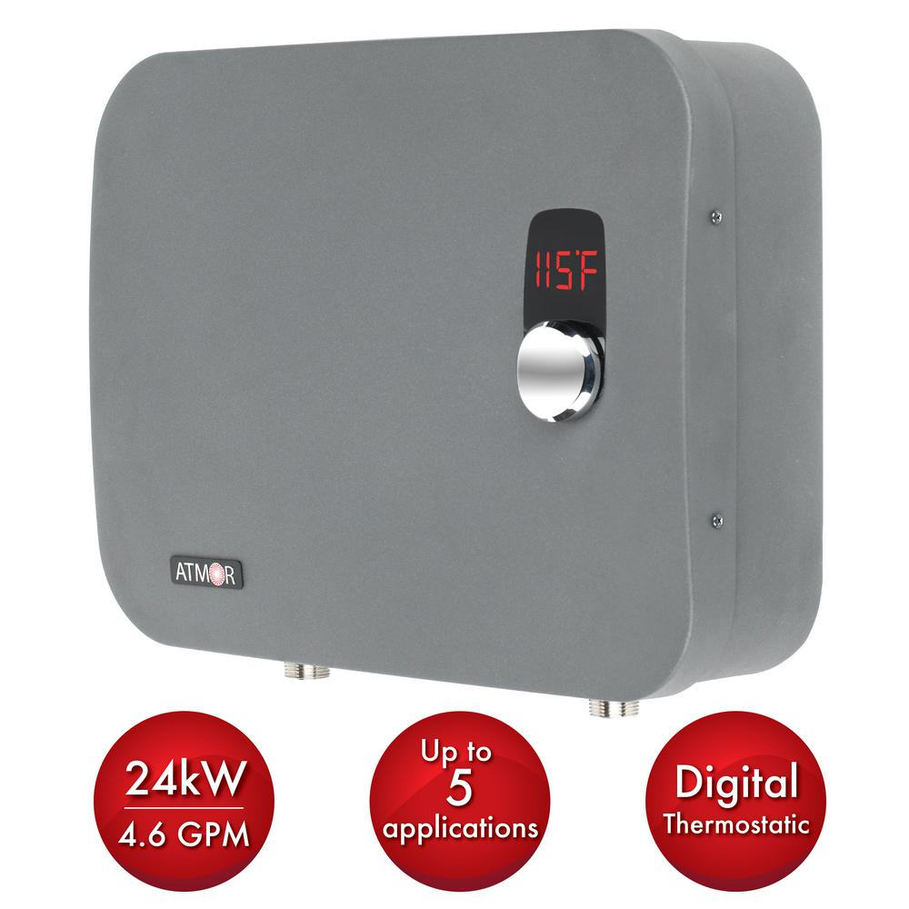 Thermopro 24 Kw 240 Volt 4 6 Gpm Stainless Steel Electric Tankless Water Heater With Self Modulating Electric Water Heater Water Heater Tankless Water Heater