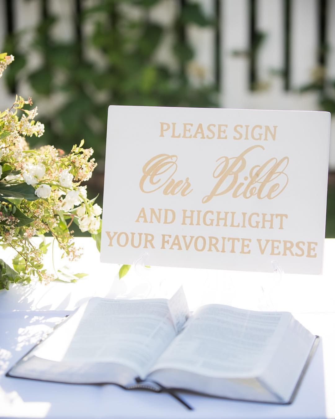 Please Sign Our Bible wedding sign for a sweet bride! We love being ...