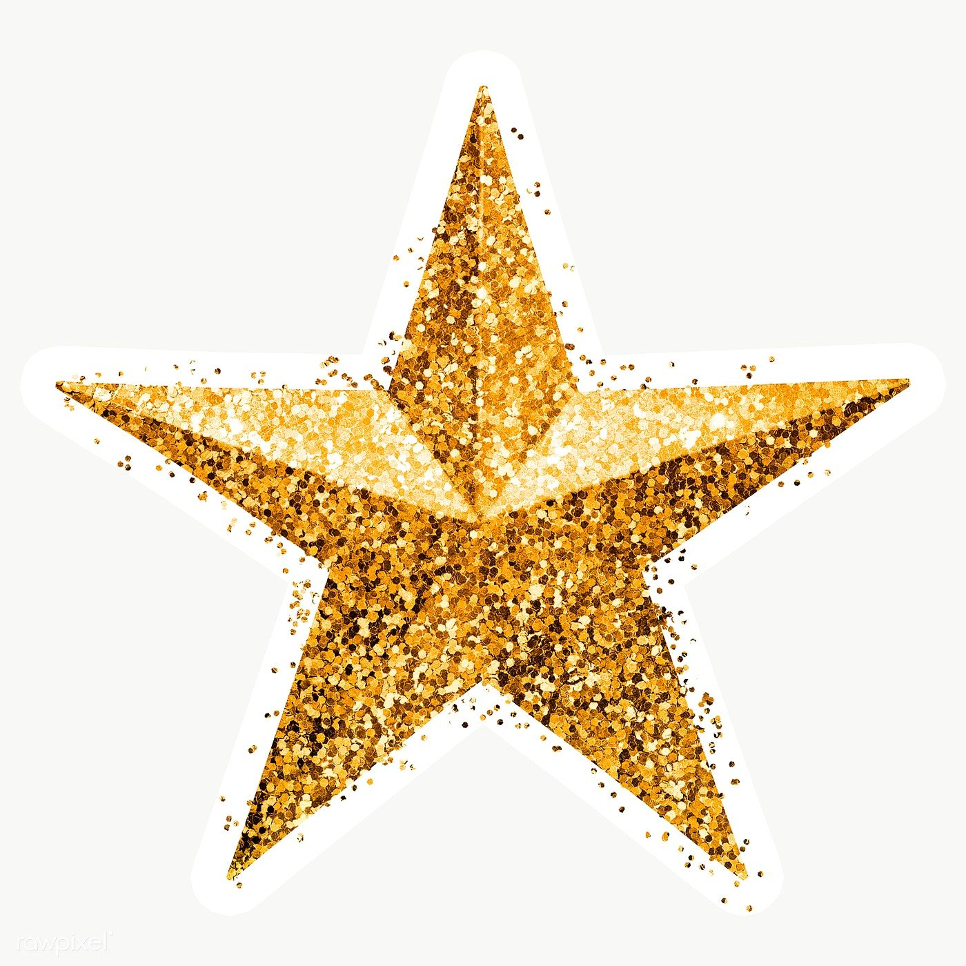 Glitter Gold Star Sticker With White Border Free Image By Rawpixel Com Ployploy