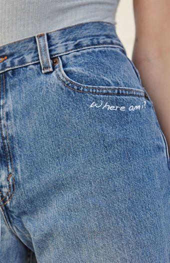 LA.EDIT Embroidered Denim High Rise Shorts bei PacSun.com