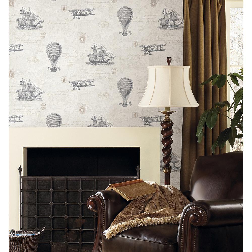 56.4 sq. ft. Explorer Fog Antique Map Wallpaper   Antiques, The o ...