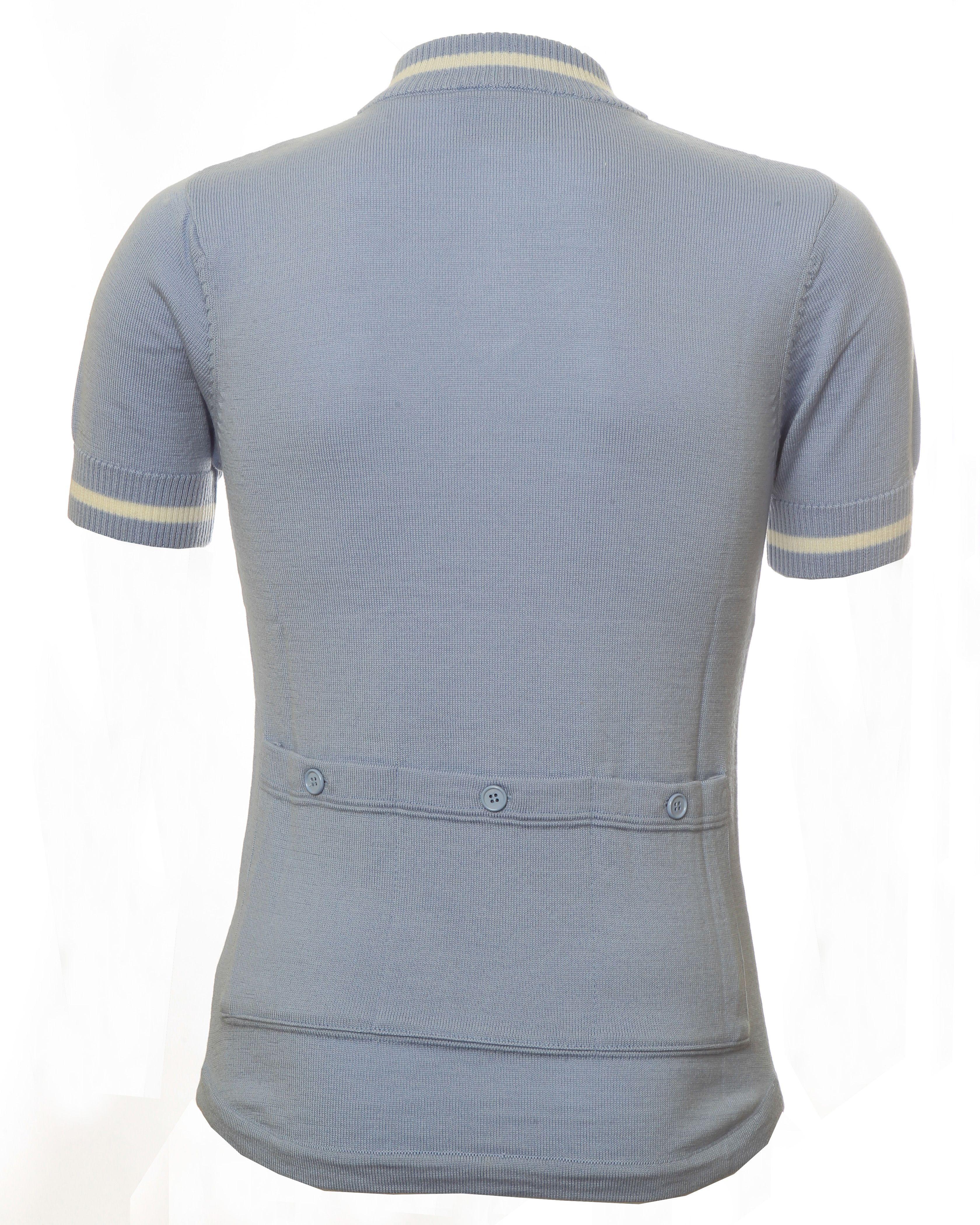 Pale Blue Ecru 100 Merino Wool Retro Cycling Jersey From Jura