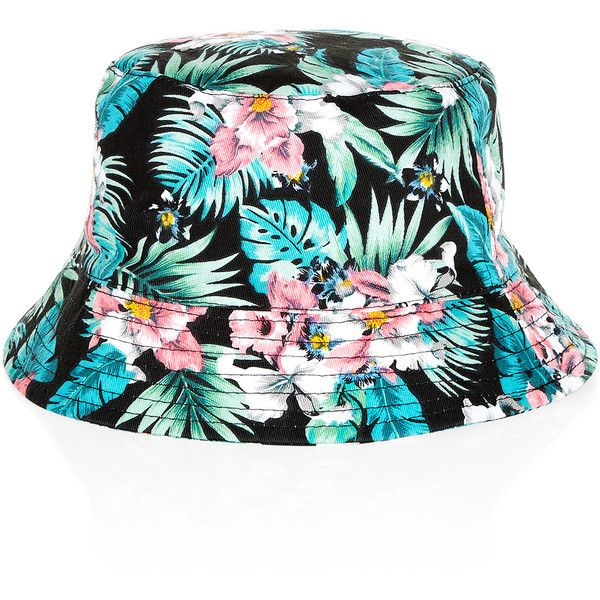 6e507f167 Monsoon Tropical Floral Bucket Hat ($8) ❤ liked on Polyvore ...