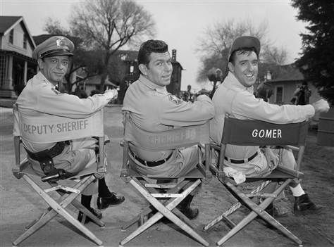 Image: Don Knotts, Andy Griffith and Jim Nabors during season 4 of the Andy Griffith Show on Feb. 11, 1964.